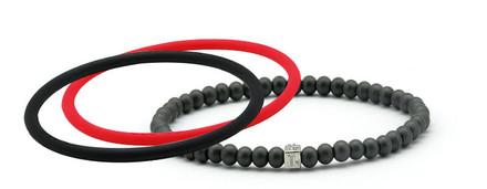 mag/fusion Ruby Red & Jet Black Pak 1 mag/fusion magnetic Bracelet, 2 IonThins (Ruby Red & Jet Black)