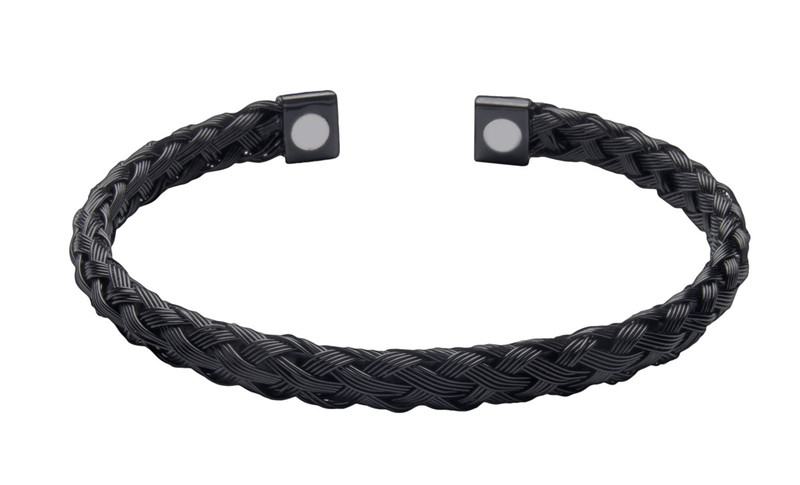 IonLoop  Raven Braided Stainless Cuff Magnet Bracelet  (front showing magnet placement view)