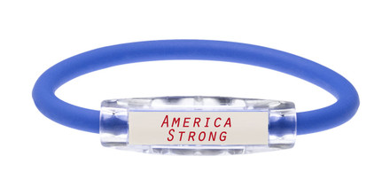 "NEW...IonLoop Royal Blue ""America Strong"" Bracelet (front view)"