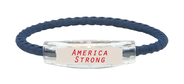 "NEW...IonLoop Navy Blue ""America Strong"" Bracelet (front view)"