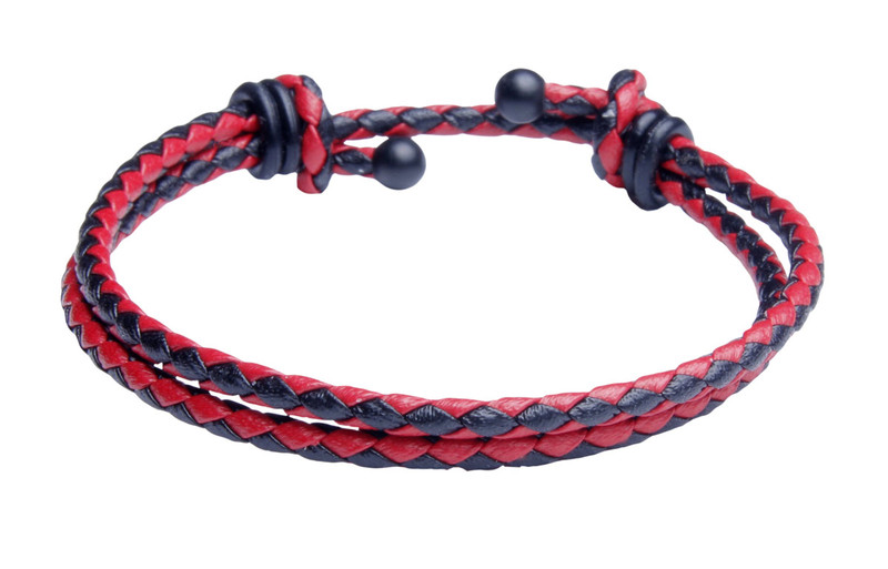 Red & Black Slide Knot Dash Leather Braided Bracelet - Back