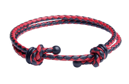 Red & Black Slide Knot Dash Leather Braided Bracelet - Front