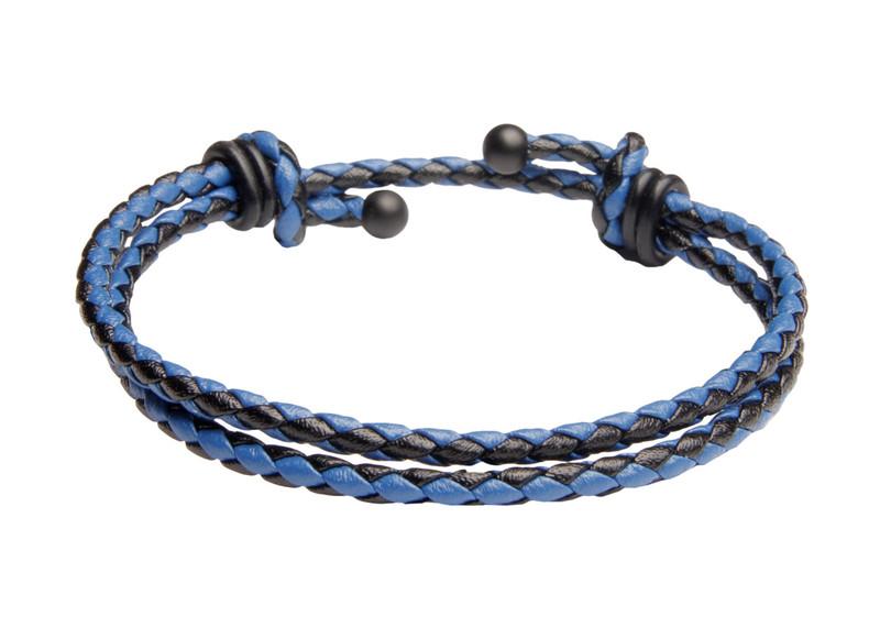 Blue & Black Slide Knot Dash Leather Braided Bracelet - Front