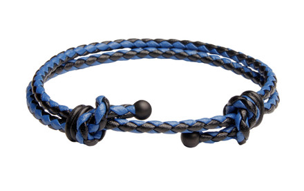 Blue & Black Slide Knot Dash Leather Braided Bracelet - Back