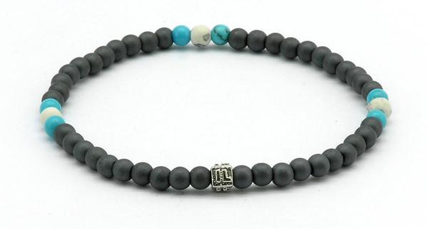 IonLoop  mag/fusion SURF & WHITE Bracelet contains slate gray magnetic pearls and 9 decorative stones.  (front view)