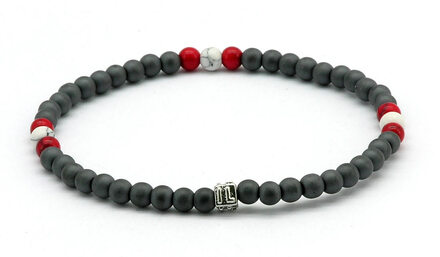 IonLoop  mag/fusion RED & WHITE Bracelet contains slate gray magnetic pearls and 9 decorative stones.  (front view)