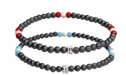 IonLoop  mag/fusion SURF WHITE & RED WHITE Bracelets contains slate gray magnetic pearls and 9 decorative stones.  (front view)