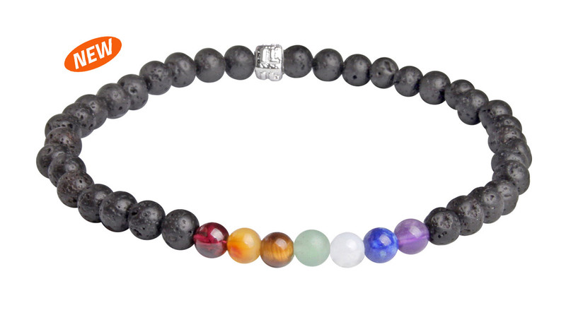 IonLoop  Lava Stone Bracelet contains 4mm sized molten rock beads with 7 colored stones.  (front view)