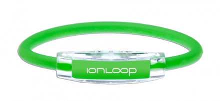 The IonLoop Apple Green Bracelet contains negative ions and magnets. (front view)