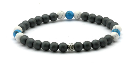 NEW   - IonLoop  mag/fusion +Plus COLOR - Bracelet contains medium sized slate gray magnetic pearls with Surf Blue  and White  Smoke stones. (front view)