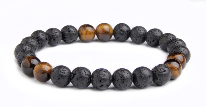 IonLoop  Lava /Tiger Eye Stone Bracelet contains 8mm sized molten rock beads with 6 Tiger Eye stones.  (back view)