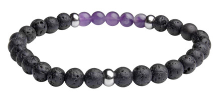 LIMITED HOLIDAY EDITION Lava  Purple Haze  Crystal Bracelet contains 6mm sized molten rock beads with 5 Amethyst crystal stones and three stainless steel spacers.  (back view)