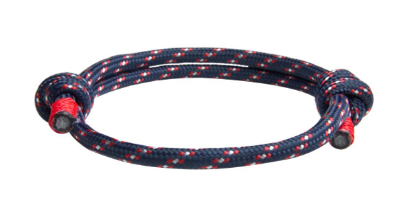 Navy Red Cord Slide Knot Bracelet (Front View)