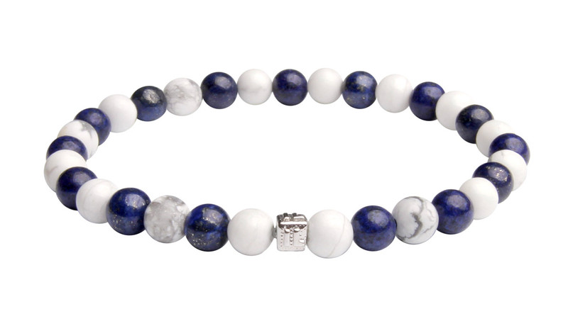 IonLoop  Dark Blue Lapis  +  White Smoke Stone Bead Bracelet. (front view)