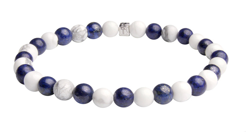 IonLoop  Dark Blue Lapis  + White Smoke Stone Bead Bracelet. (back view)