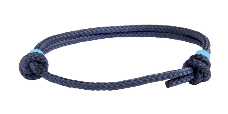 NEW   Navy Blue Cord Slide Knot w/Light Blue Dash Bracelet - Front