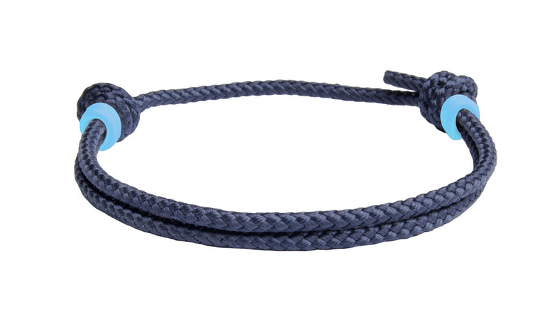 NEW   Navy Blue Cord Slide Knot w/Light Blue Dash Bracelet - Back