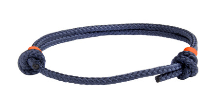 NEW   Navy Blue Cord Slide Knot w/Orange Dash Bracelet - Front