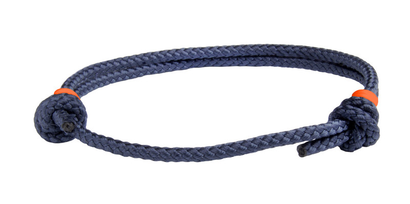 NEW   Navy Blue Cord Slide Knot w/Orange Dash Bracelet - Front