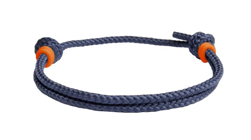 NEW   Navy Blue Cord Slide Knot w/Orange Dash Bracelet - Back