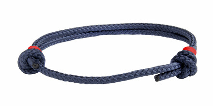 NEW   Navy Blue Cord Slide Knot w/Red Dash Bracelet - Front