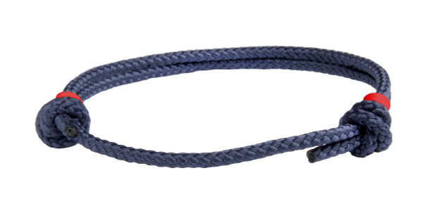 NEW   Navy Blue Cord Slide Knot w/Red Dash Bracelet - Front
