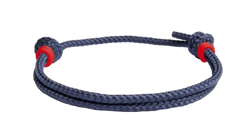 NEW   Navy Blue Cord Slide Knot w/Red Dash Bracelet - Back