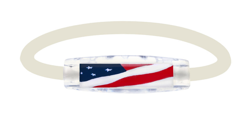The IonLoop White USA Flag Bracelet contains negative ions and magnets. (front view)