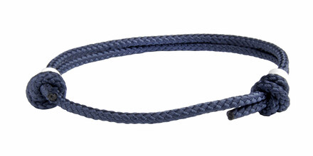 NEW   Navy Blue Cord Slide Knot w/White Dash Bracelet - Front