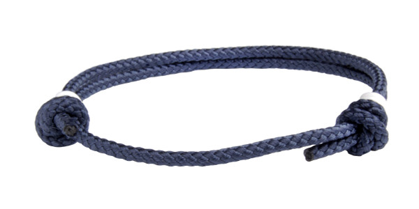 NEW   Navy Blue Cord Slide Knot w/White Dash Bracelet - Front