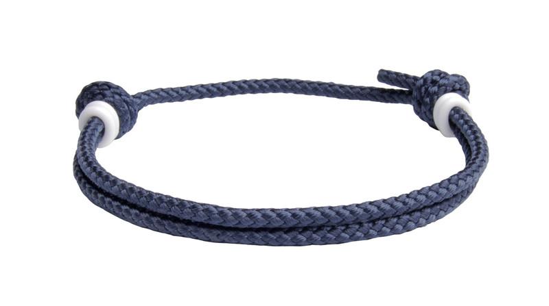 NEW   Navy Blue Cord Slide Knot w/White Dash Bracelet - Back