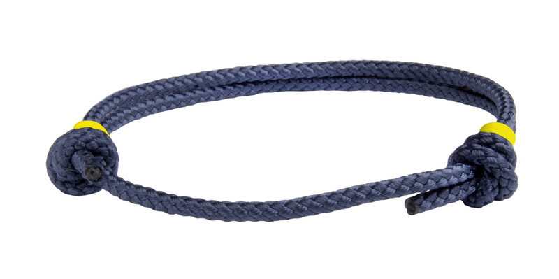 NEW   Navy Blue Cord Slide Knot w/Yellow Dash Bracelet - Front