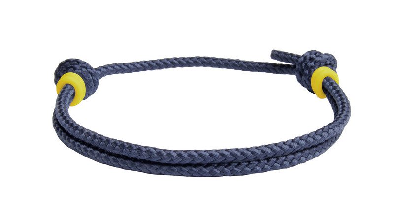 NEW   Navy Blue Cord Slide Knot w/Yellow Dash Bracelet - Back