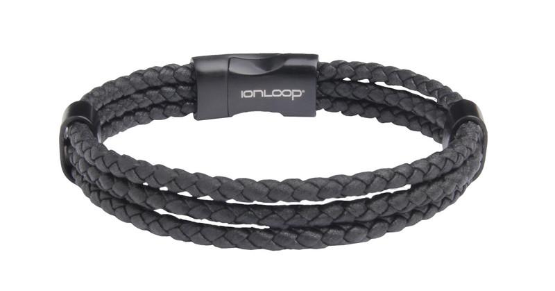 Three Strand Leather Black Braided Bracelet  (back view)