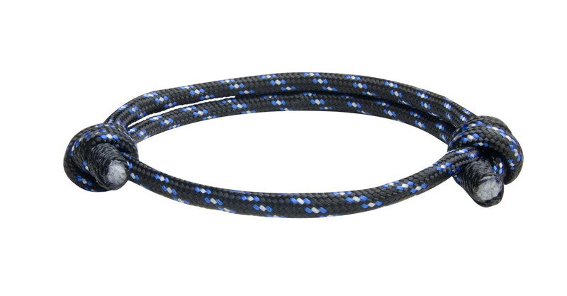 NEW Black Blu Cord Slide Knot Bracelet (Front view)