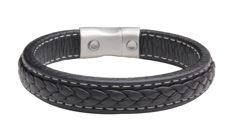 NEW - Saddle Stitch Leather Black Bracelet  (back view)