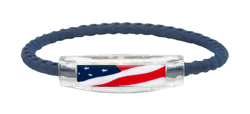 The IonLoop Navy Blue Braided USA Flag Bracelet contains negative ions and magnets. (front view)