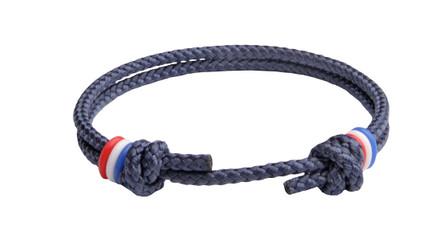 NEW   USA Navy Blue Cord Slide Knot w/Red , White Dash Bracelet - Front