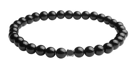 IonLoop  Onyx Stone 6mm Bead Bracelet. (front view)