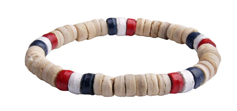 IonLoop Stars & Stripes Coconut  Shell Bead Bracelet (front view)