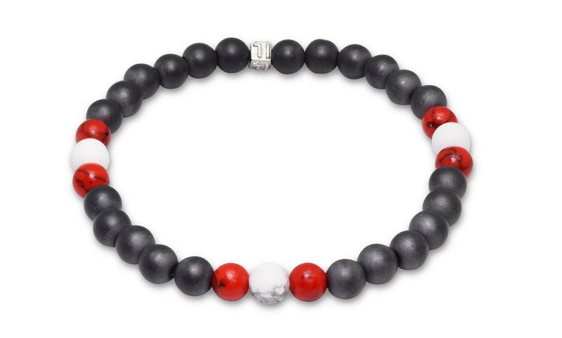 IonLoop  mag/fusion +Plus RED+WHITE COLOR - Bracelet contains medium sized slate gray magnetic pearls with Smoke Red + White stones. (front view)