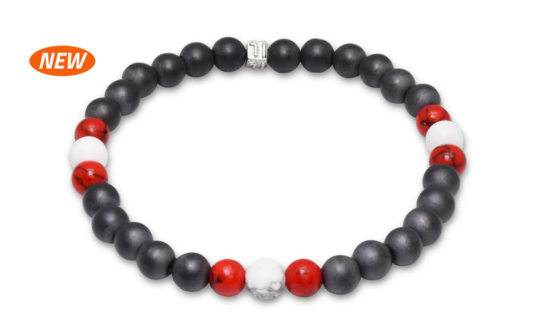 New IonLoop  mag/fusion +Plus RED+WHITE COLOR - Bracelet contains medium sized slate gray magnetic pearls with Smoke Red + White stones. (front view)