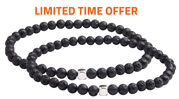 Limited Time Offer - Lava Mini Stone Bracelet SET  contains 4mm sized molten rock beads. (front view)