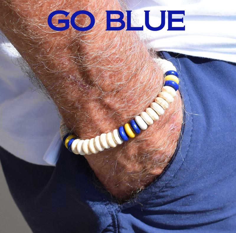 Sport a one of a kind GO BLUE team bracelet!