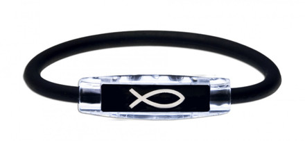 The IonLoop Christian Fish Bracelet contains negative ions and magnets. (front view)