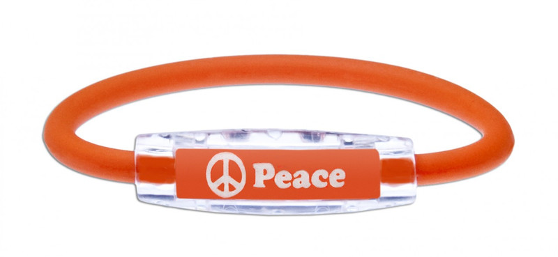 The IonLoop Peace Bracelet contains negative ions and magnets. (front view)