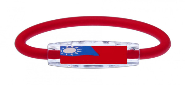 IonLoop's Taiwan Flag Bracelet with magnets & Negative Ions (front view)