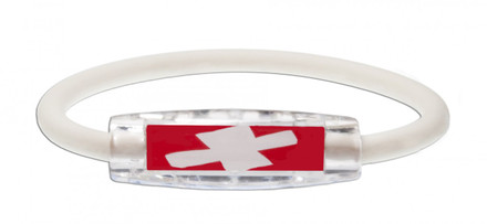IonLoop's Switzerland Flag Bracelet with Magnets & Negative Ions (front view)