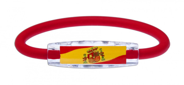 IonLoop's Spain Flag Bracelet with Magnets & Negative Ions (front view)