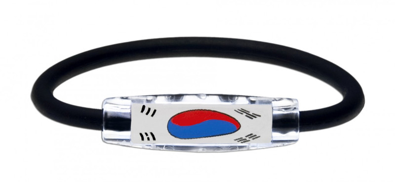 IonLoop's South Korea Flag Bracelet with Magnets & Negative Ions (front view)